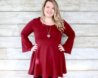 Bell Sleeve Dress Plus Size, Christmas Dresses, Holiday Dress, Burgundy Dress, Bell Sleeve Dress Women, Fall Fashion, Made in Canada
