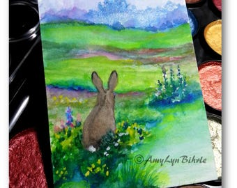 Wildlife Wonders Rabbit - Day dreaming in the Garden Castle - Original ACEO Painting - Art by AmyLyn Bihrle wd187