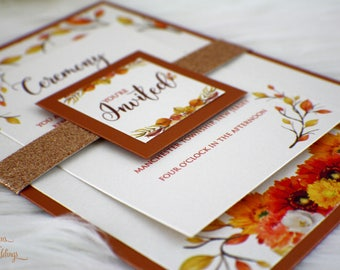 Fall Flowers Wedding Invitation   Fall Wedding Invitation   Fall Foliage   Glitter Wedding Invite   Copper Wedding Invitation   Fall invite