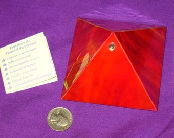 Red Stained Glass Wishing Pyramid~Pagan Home Decor~Manifestation