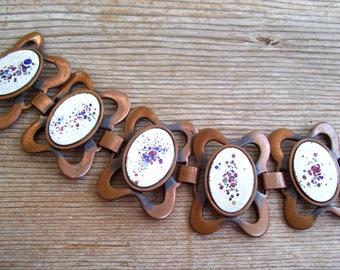 Vintage Rebajes Enamel Copper Bracelet, Vintage REBAJES Modernist Abstract Enamel Copper Link Bracelet, Rebajes Bracelet, Modernist Copper