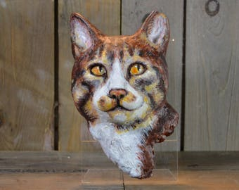 3 Dimensional custom made portrait of your cat  - life size sculpture cast handpainted