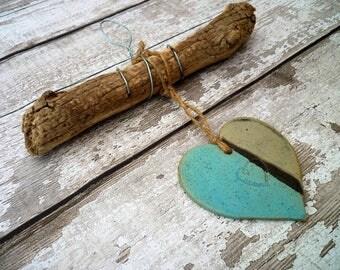 Driftwood wall art hanger, home decor, wall hanging, ceramic heart hanger, gift idea