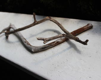 Two Unique Curvy Driftwood Branches for Bohemian Art & Decor , Natural Art supply BD2
