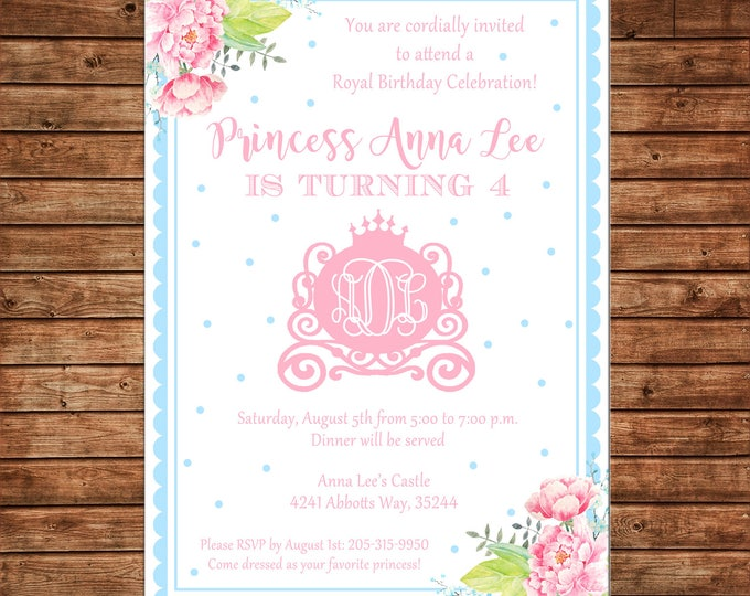 Girl Princess Monogram Carriage Floral Watercolor Tea Birthday Party Invitation - DIGITAL FILE