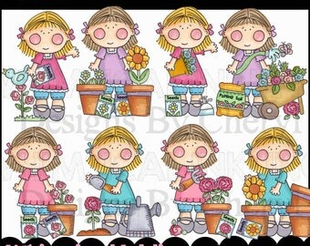 Our Girl Loves Flowers Clipart Collection- Immediate Download