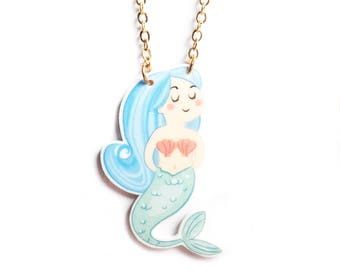 Handmade Illustrated Mermaid Pendant Necklace