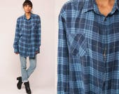 Plaid Shirt 80s Grunge Flannel Button Down Dark Blue 90s Vintage Long Sleeve Lumberjack Hipster Checkered Retro Extra Large XL