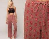 Wide Leg Pants Bohemian Pants 70s Hippie Trousers Paisley Print Psychedelic Vintage High Waisted Boho Festival Red Medium Large