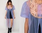 Sheer Robe Long Lingerie Jacket 70s LACE Kimono Robe Purple Robe Boho Maxi Lingerie Nylon Chiffon Peignoir Bohemian 1970s Vintage Large