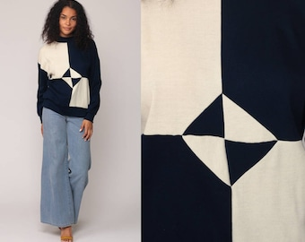 80s Sweatshirt Color Block Shirt Slouchy Pullover Jumper Geometric Print 1980s Op Art Navy Blue Off White Vintage Retro Medium