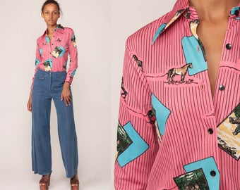 Disco Shirt 70s HORSE PRINT Top Novelty Blouse Button Up Jockey Psychedelic Boho Pink Long Sleeve Vintage Bohemian Small