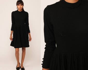 Black WOOL Dress 60s MOD Mini LBD High Waisted Simple Day 1960s Long Sleeve Vintage Mad Men Minidress Sixties Knit Sweater Dress Small