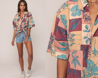 Tropical Shirt Hawaiian Shirt 90s Floral SURFER Button Up Shirt Hibiscus Print 1990s Beach Summer Extra Large xl