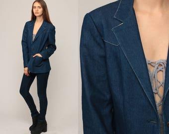Denim Blazer Jacket 80s Jean Jacket Blue Boho Vintage Bohemian 1980s Button Up Hipster Women Coat Retro Medium