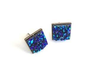 Square druzy stud earrings. Dark blue druzy earrings. Blue jewelry. Gifts under 10 dollars. Best friend jewelry. Gifts for girls.