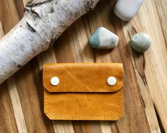 Leather Wallet - The Buddy - In Butternut Yellow - Ready to Ship