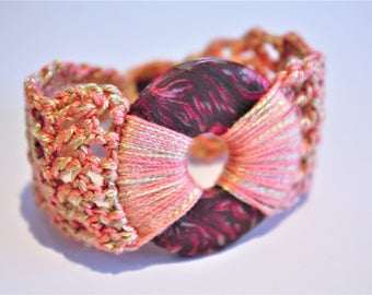 Coral, Pink and Chocolate Swirl Polymer Clay Crochet Bracelet