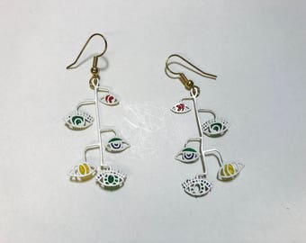 Vintage 1980s Picasso style mobile eyeball earrings