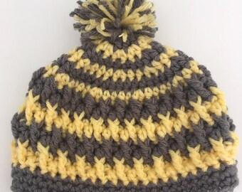 Childs Striped Pom Pom Hat - Size 3 - 6 months - Ready To Ship
