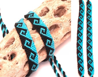 Friendship bracelet - set of two - matched pair - tidal wave - greek wave - black - blue - embroidery floss - knotted - woven - matching