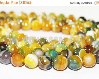"""20% OFF 7"""" Gemstone STRAND - Agate Beads - 10mm Faceted Rounds - Banded Green, Mustard Yellow, and White (7"""" strand ~17 beads) - str1206"""