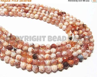 """20% OFF 7"""" Gemstone STRAND - Agate Beads - 6mm Disco Faceted Rounds - Shades of Orange, Brown, and Cream (7"""" strand - 29 beads) - str824"""