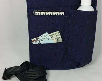 Massage Therapy Single lotion/oil bottle RIGHT hip holster, purple paisley, black belt