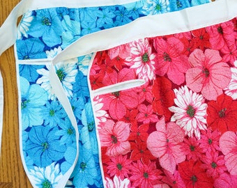 Vintage 1960s Apron Size Small/Medium, Your Choice Blue or Pink Floral Pattern Cotton Terry Half Apron NOS