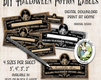 DIY Blank Halloween Potion Labels, Digital, Download, Witch Apothecary Labels, Printable Halloween Tags, Halloween Clip Art