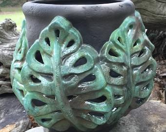Patio lantern, candle holder, orchid pot, leaves, raku, clay, garden, patio decor, handmade