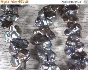 ON SALE 8 Bow Tie  Pearls Silver, Gold & Bronze Iris -  Freshwater Cultured Gone WILD (4247)