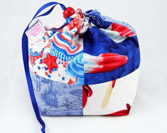 Mini Project Bag - Red, Blue and White