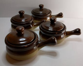 Set of 4 Small Brown Soup Crocks, Brown Stoneware, 1970s Kitchen, 1970s Stoneware, Brown and Tan Soup Crock, Lidded Bowls, Back To School