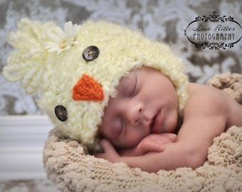 Chick Baby Photo Prop Animal Boy Hat Easter Beanie Spring Duckling Newborn Girl Hand Knit Going Home Outfit Coming Knitted Farm Photography