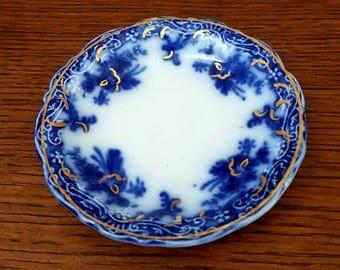 Vintage Flow Blue Butter Pat Delaware J & G Meakin Cobalt Blue and White