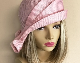 Ava, parasisal straw, side drape millinery hat, women straw cloche hat