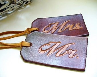 Mr. and Mrs. Leather Luggage Tags Honeymoon Wedding Gift Bridal Shower