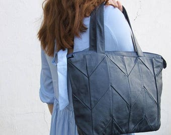 SALE Blue leather handbag, womens leather purse, leather hobo, womens handbag, work bag, tote, large shoulder bag, mothers day