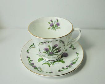 Sheltonian China English Bone China with Purple Dandelion-like Flower Cup and Saucer set..