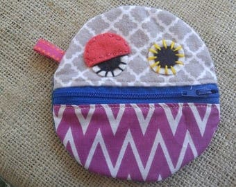 Monster Mouth Coin Purse -Gray, Purple, Turquoise, and Royal Blue