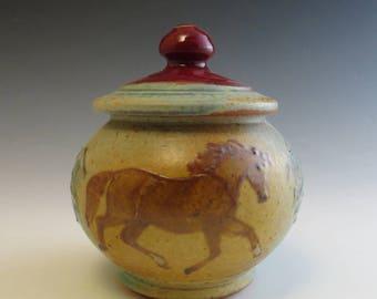 Sugar Jar Chestnut Horses & Mountain Landscape