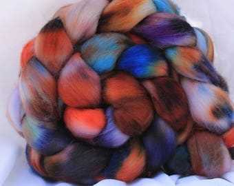 Hand dyed Organic Polworth spinning wool/fiber/roving 4.2 oz/118 grams #94