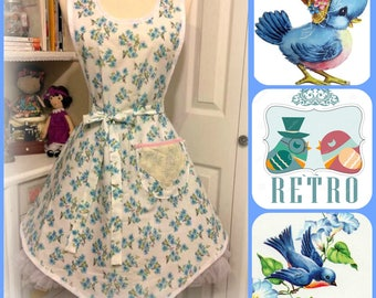 Retro Bluebirds 1940's apron with Hot Rolls pocket
