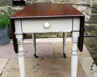 Vintage drop leaf table painted in Miss Mustard Seed Milk Paint Schloss