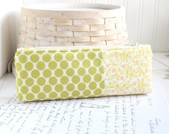 Pencil Case Orange and Green Floral Polka Dots Pencil Pouch Organizing Back to School Student