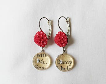 Pride and Prejudice Earrings. Jane Austen Mr Darcy Red. Flower Floral Botanical Jewellery Jewelry. Handmade Dangle Literature Words Gift