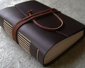 """Chunky leather journal, 5.5""""x 7"""",  384 pages, vintage style leather journal, leather sketchbook, travel journal  (2615)"""