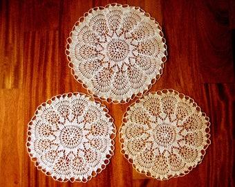 DOILY Runner Scarf Set Cotton Crochet Ecru Italian Silky Filet Set 3
