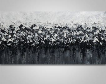 Abstract Wall Art, Abstract Painting, Original Painting, Acrylic Painting, Wall Decor, Canvas Art, Large Painting, black white  Home Decor,